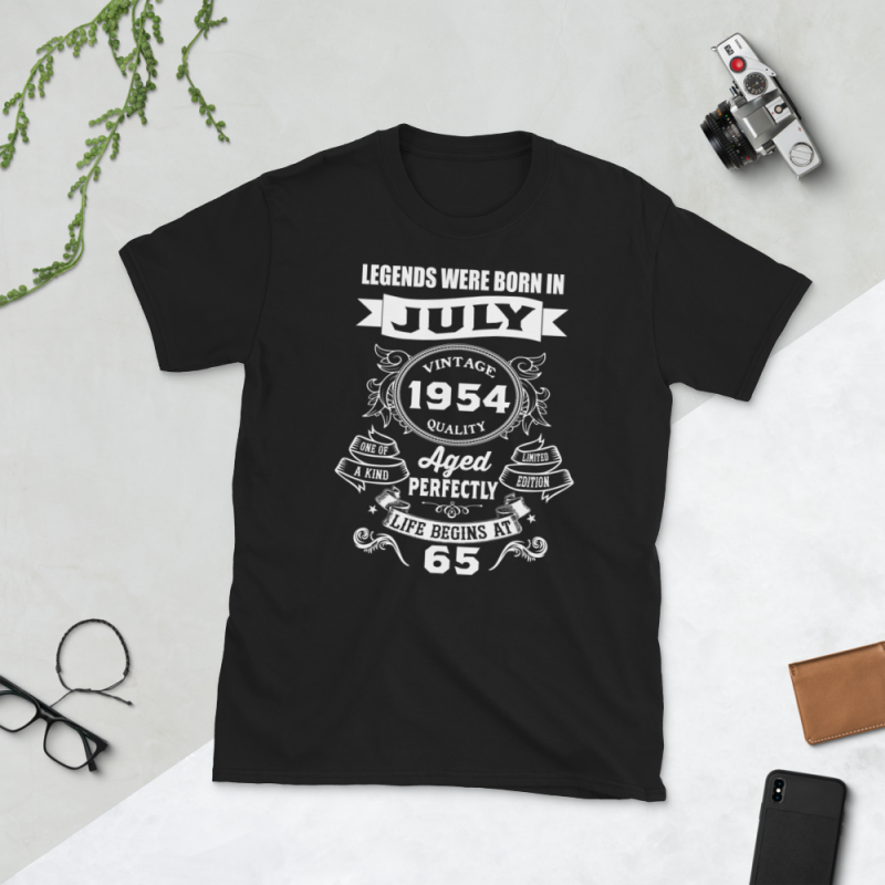 Birthday Tshirt Design – Age Month and Birth Year – July 1954 65 Years tshirt designs for merch by amazon