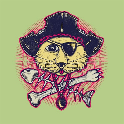 Pirate Cat t shirt designs for sale