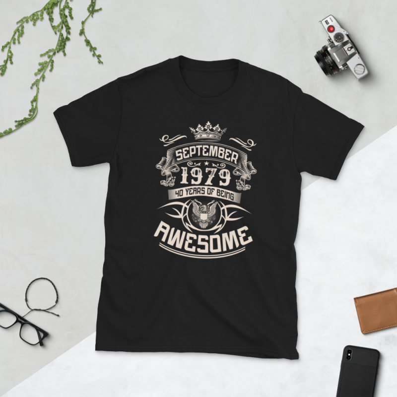 Birthday Tshirt Design – Age Month and Birth Year – September 1979 40 Years Awesome vector shirt designs