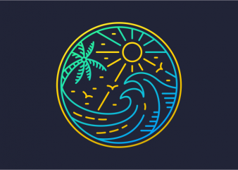 Waves in Summer vector t-shirt design template