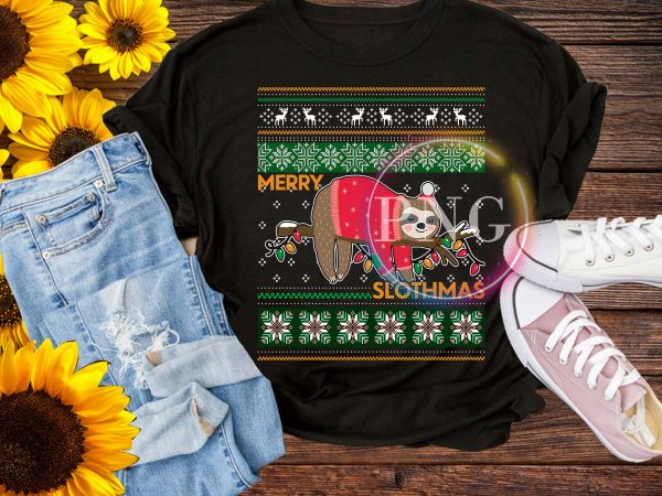Merry Slothmas – Lazy Sloth Merry Christmas T shirt Design