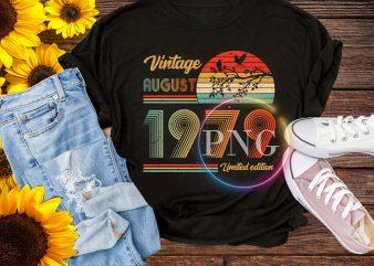 Vintage August 1979 – Autumn Birthday Retro style t-shirt design for sale