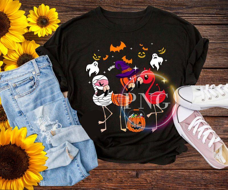 Flamingo Halloween Cosplay Costume Pumpkin witch T shirt t shirt designs for sale