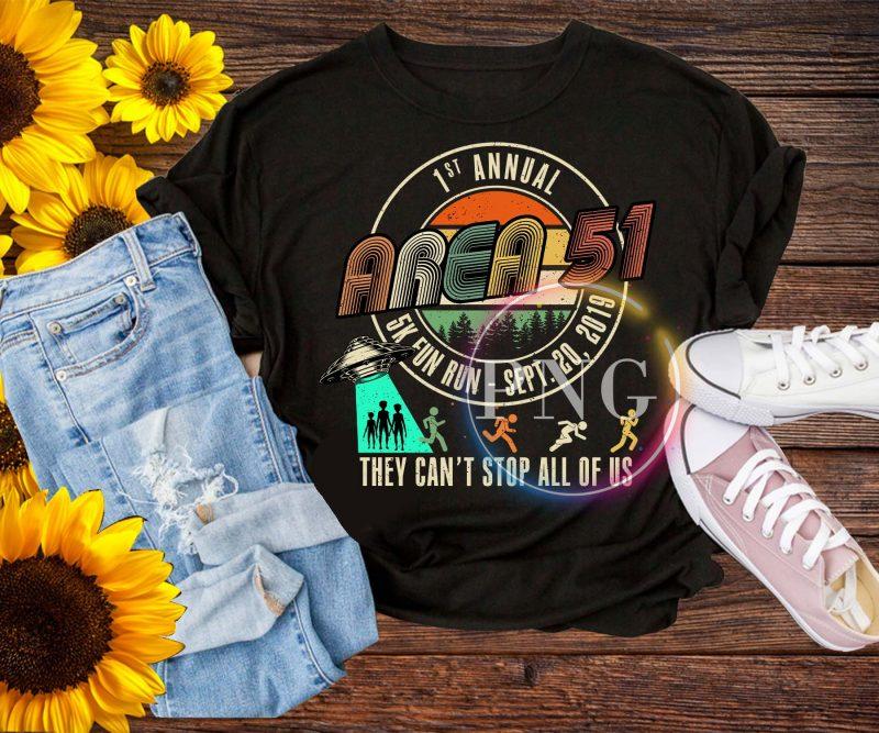 1st Annual Area 51 5K Fun Run – Sept 20 2019 Vintage Funny UFO, Alien T-Shirt t shirt designs for sale
