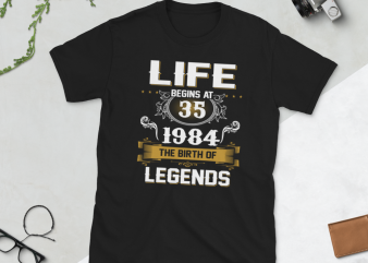Birthday Tshirt Design – Age Month and Birth Year – 1984 35 Years Awesome