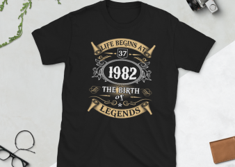 Birthday Tshirt Design – Age Month and Birth Year – 1982 37 Years