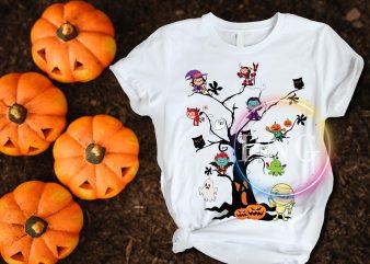 Halloween Tree meme Pumpkin Mummies Dracula Frankin Ghost T shirt design
