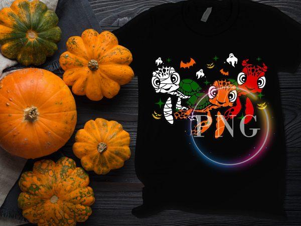 Halloween Turtle Costume Pumpkin Devil Witch Design PNG