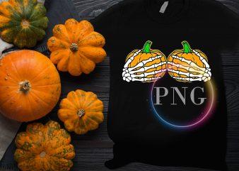 Pumpkin Boobs Hand Skull Funny Halloween Design T shirt