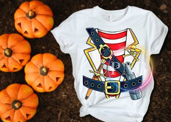 Pirates Captain Costume halloween t shirt design – Jolly Roger Skull & Crossbones Flag Tees