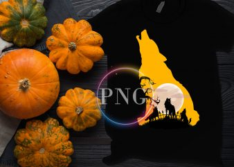 Wolf Moon Halloween Costume T shirt Design