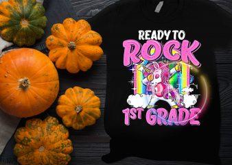 Unicorn ready to Rock 1st Grade T shirt design