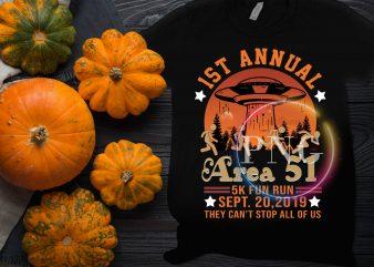 Halloween 1st Annual Area 51 5K Fun Run – Sept 20 2019 Vintage Funny UFO, Alien T-Shirt