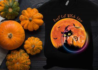 Best Cat witch Ever Halloween Costume T shirt Design