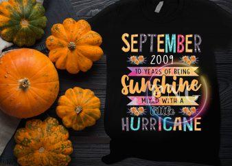 September Birthday Girl – September 2009 10 Years of being sunshine litte hurricane t-shirt design png