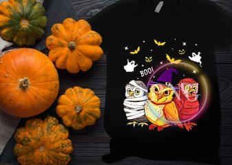 Owl Halloween Costume Witch Mummies Devil Ghost t shirt design