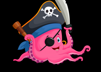 Pirate png – Pirate Octopus t shirt illustration