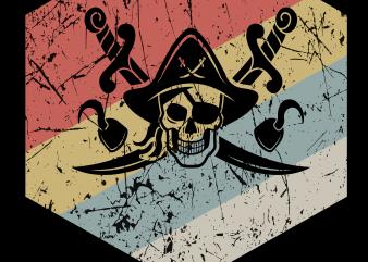 Pirate png – Retro pirate t shirt illustration