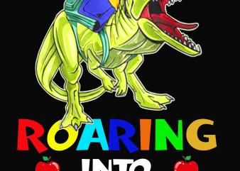 Back to School png file – Dinosaur Roaring into PreSchool t shirt template