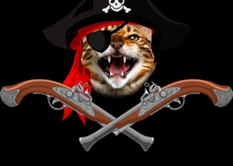 Pirate png – Pirate cat t shirt illustration