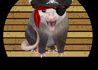 Pirate png – Pirate possum print ready t shirt design