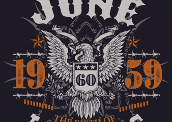 Birthday Tshirt Design – Age Month and Birth Year – June 1959 60 Years Awesome