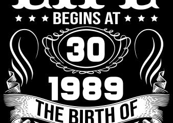 Birthday Tshirt Design – Age Month and Birth Year – 1989 30 Years