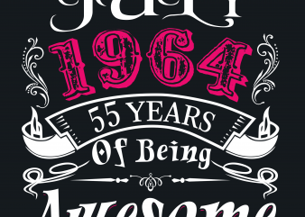 Birthday Tshirt Design – Age Month and Birth Year – July 1964 55 Years Awesome