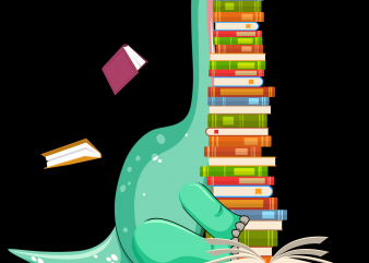 Reading png file – Dinosaur reading book t shirt design for purchase