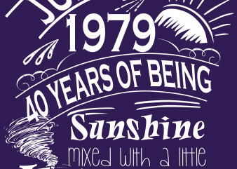 Birthday Tshirt Design – Age Month and Birth Year – June 1979 40 Years Awesome