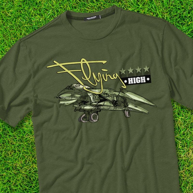 FLYING HIGH t shirt designs for merch teespring and printful