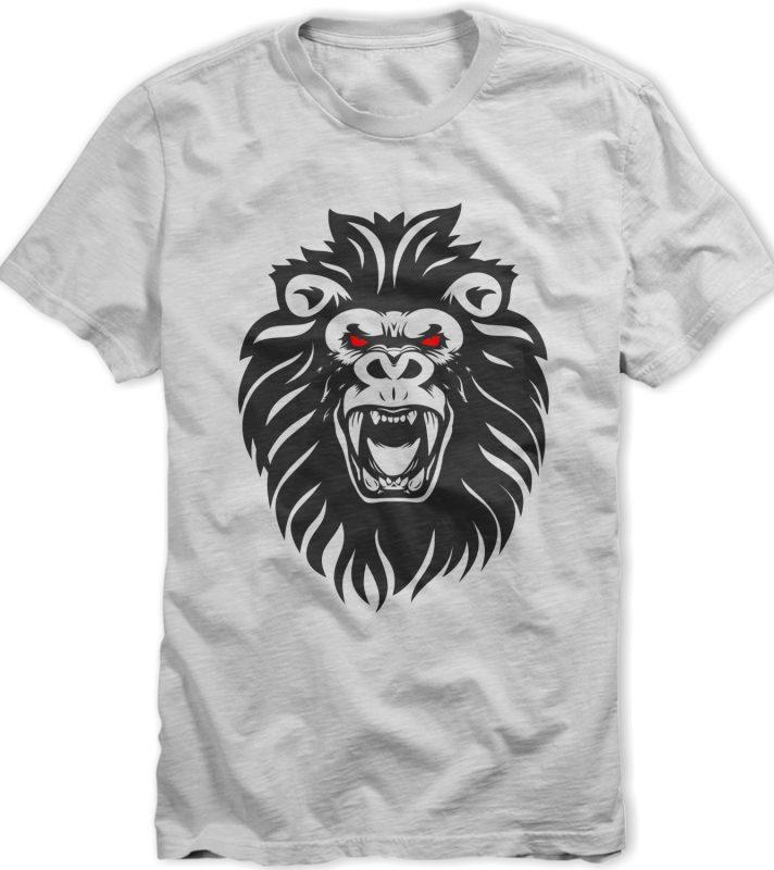Lion Kong tshirt design template t shirt design graphic