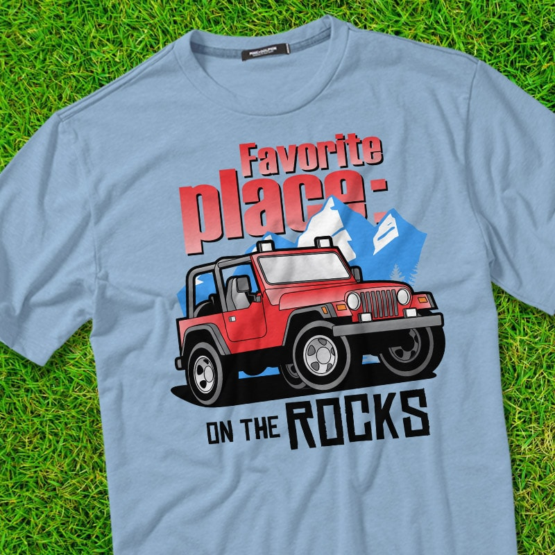 ON THE ROCK t shirt designs for merch teespring and printful