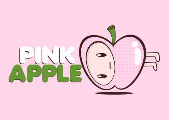 PINK APPLE t shirt illustration