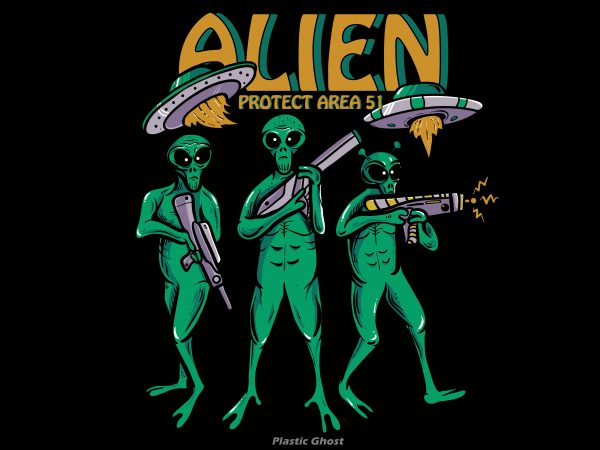 Alien Protect Area 51 t shirt vector