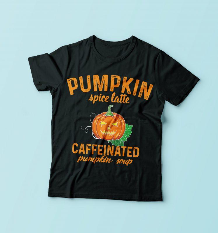 Pumpkin Caffeinated commercial use t shirt designs