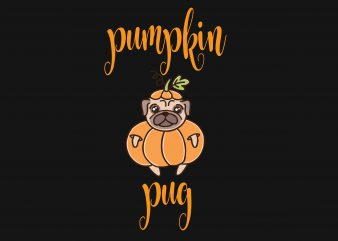 Pumpkin Pug t shirt illustration