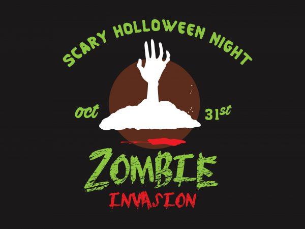 Zombie Invasion t shirt graphic design