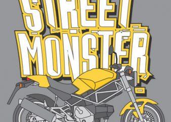 STREET MONSTER t shirt design png