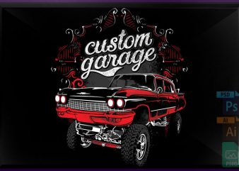 Custom garage vector t-shirt design for commercial use