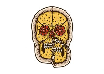Pizza Skull t shirt illustration