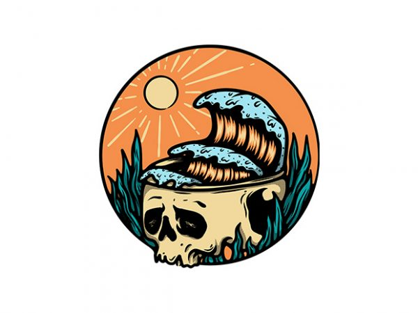 Skull and Wave t shirt design template