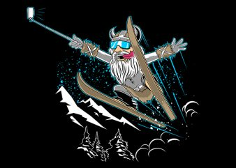 Ski Selfie Vector t-shirt design