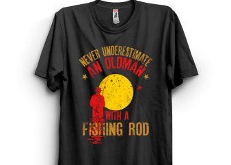 Oldman with a fishing rod t shirt design online