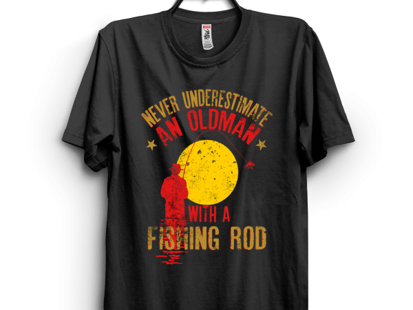 Oldman with a fishing rod t shirt design for download