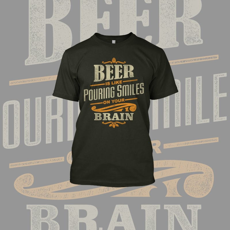 Beer Smiles t shirt designs for printify