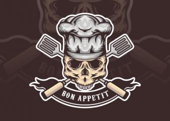 Bon Appetit Skull t shirt template