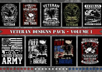 Bundle T-Shirt Designs Veteran Theme – Volume 1
