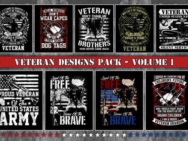 Bundle T-Shirt Designs Veteran Theme – Volume 1