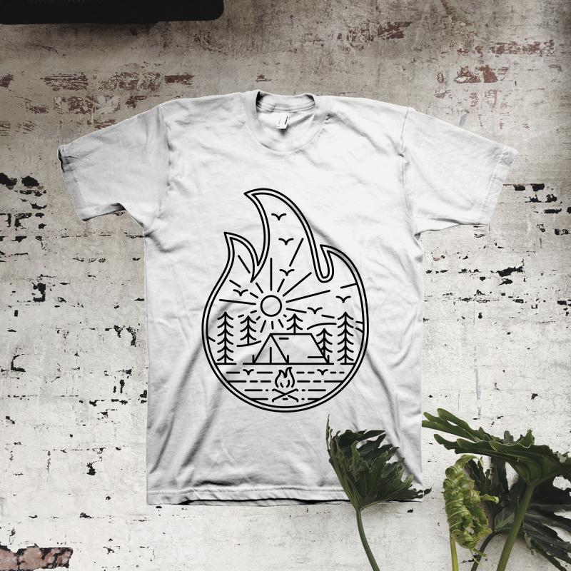 Camp Fire t shirt design graphic